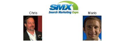 SMX logo - Chris Sherman and Mario Queiroz photo